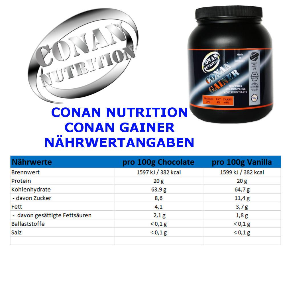 CONAN NUTRITION - CONAN GAINER - NAHRWERTANGABEN