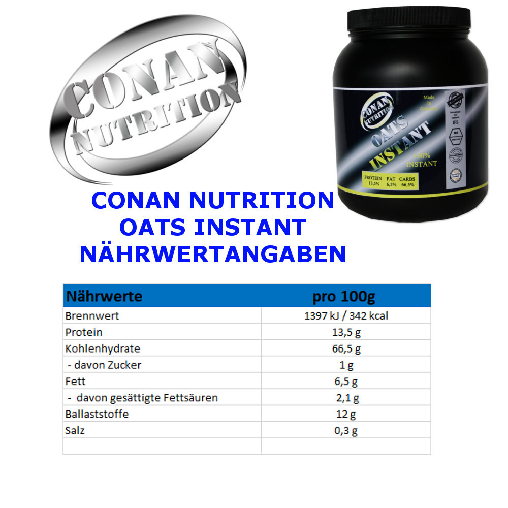 CONAN NUTRITION - OATS INSTANT - NAHRWERTANGABEN