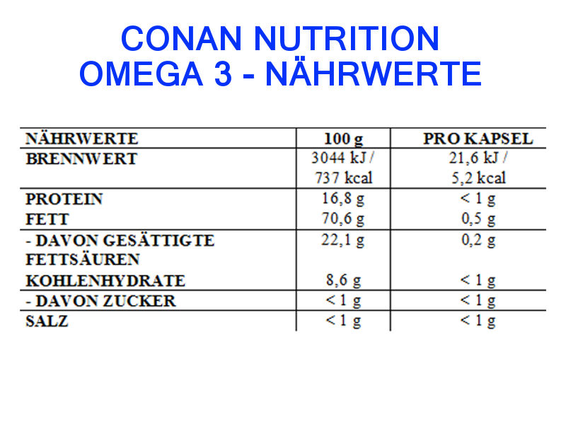 Conan Nutrition OMEGA 3 Nahrwerte