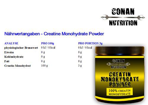 creatin Powder Nahrwerttabelle