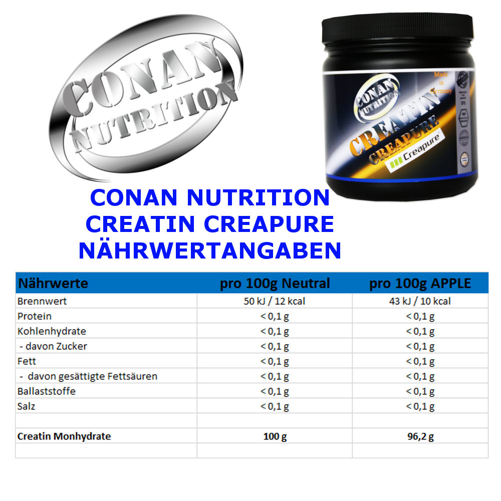 CONAN NUTRITION - CREATIN CREAPURE - NAHRWERTANGABEN