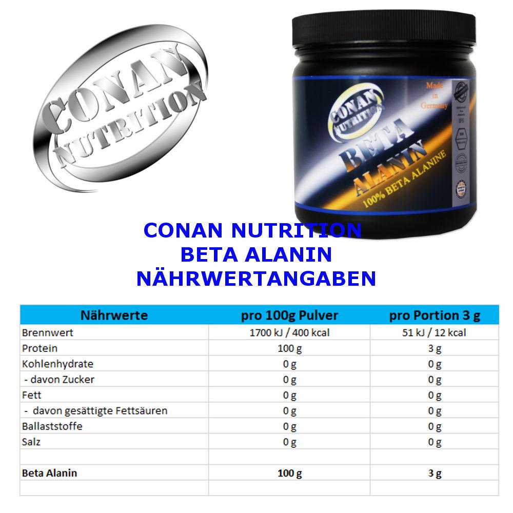 CONAN NUTRITION - BETA ALANIN -NÄHRWERTANGABEN